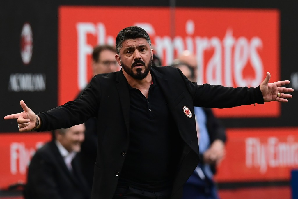 AC Milan's Italian coach Gennaro Gattuso gestures during the Italian Serie A football match between AC Milan and Hellas Verona at the San Siro stadium in Milan on May 5, 2018. (Photo by MIGUEL MEDINA / AFP) (Photo credit should read MIGUEL MEDINA/AFP/Getty Images)
