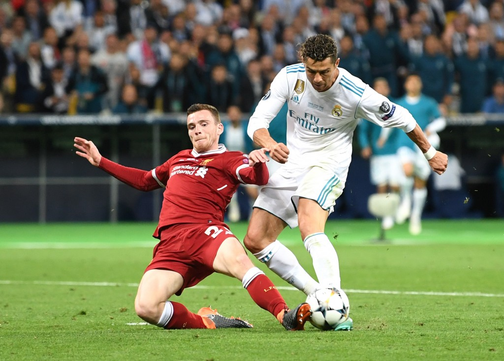 Robertson was one of Liverpool's better performers in the Champions League final and retained a calm head on his shoulders despite the defeat to Real Madrid. (Photo by Michael Regan/Getty Images)