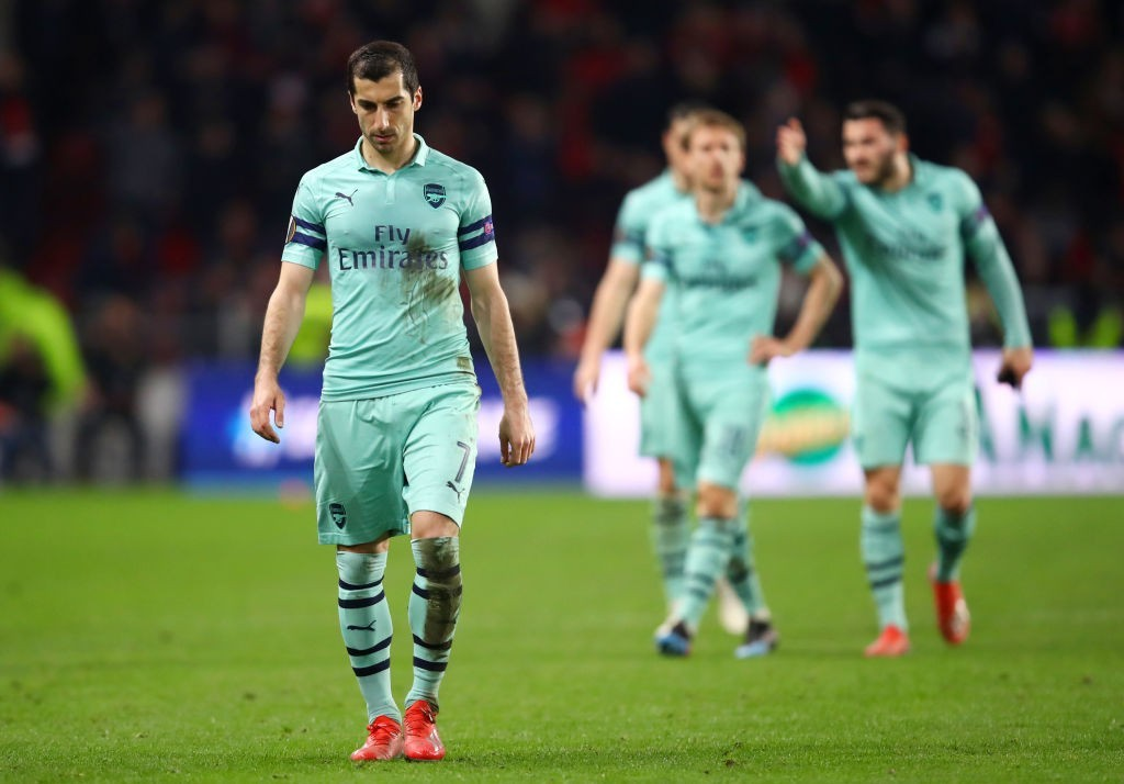 MkhitatRENNES, FRANCE - MARCH 07: Henrikh Mkhitaryan of Arsenal walks off the pitch after defeat in the UEFA Europa League Round of 16 First Leg match between Stade Rennais and Arsenal at Roazhon Park on March 07, 2019 in Rennes, France. (Photo by Julian Finney/Getty Images)yan could be sa