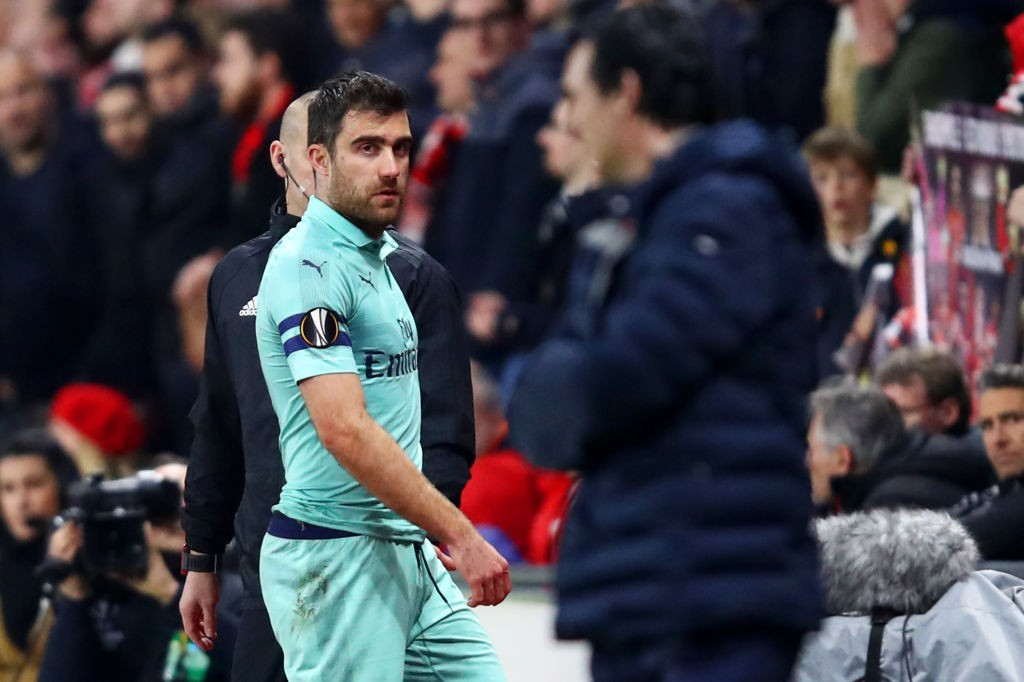 Sokratis' red card changed the game. (Photo courtesy: AFP/Getty)