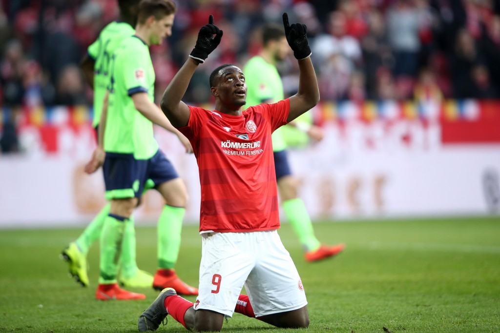 MAINZ, GERMANY - FEBRUARY 23: Jean-Philippe Mateta of FSV Mainz celebrates at the final whistle during the Bundesliga match between 1. FSV Mainz 05 and FC Schalke 04 at Opel Arena on February 23, 2019 in Mainz, Germany. (Photo by Alex Grimm/Bongarts/Getty Images)