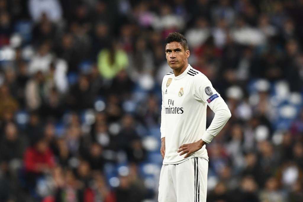 Real Madrid's French defender Raphael Varane reacts during the UEFA Champions League round of 16 second leg football match between Real Madrid CF and Ajax at the Santiago Bernabeu stadium in Madrid on March 5, 2019. (Photo by GABRIEL BOUYS / AFP) (Photo credit should read GABRIEL BOUYS/AFP/Getty Images)