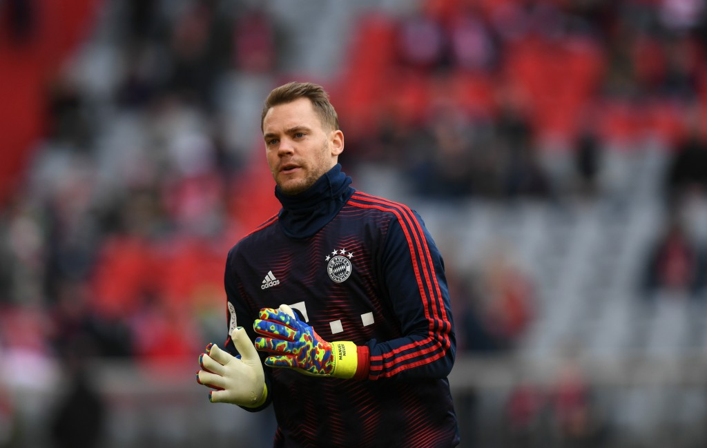 Bayern Munich's goalkeeper Manuel Neuer arrives for the warm up prior to the German first division Bundesliga football match Bayern Munich vs VfL Wolfsburg in Munich, southern Germany, on March 9, 2019. (Photo by Christof STACHE / AFP) / RESTRICTIONS: DFL REGULATIONS PROHIBIT ANY USE OF PHOTOGRAPHS AS IMAGE SEQUENCES AND/OR QUASI-VIDEO (Photo credit should read CHRISTOF STACHE/AFP/Getty Images)