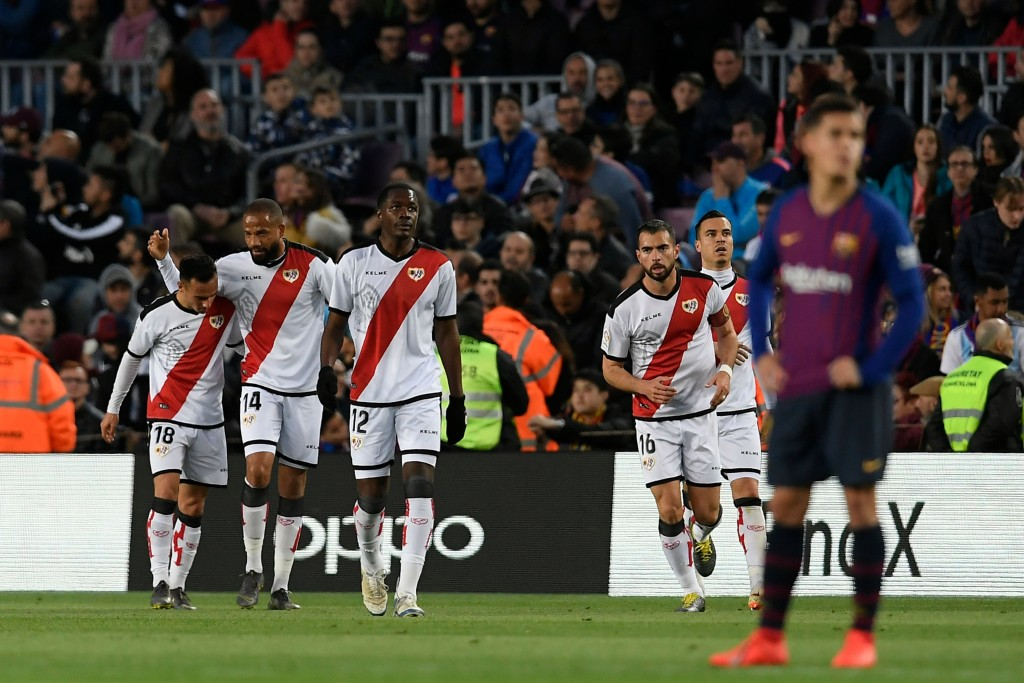 Rayo Vallecano will sorely miss the services of Raul de Tomas (extreme left). (Photo by Lluis Gene/AFP/Getty Images)
