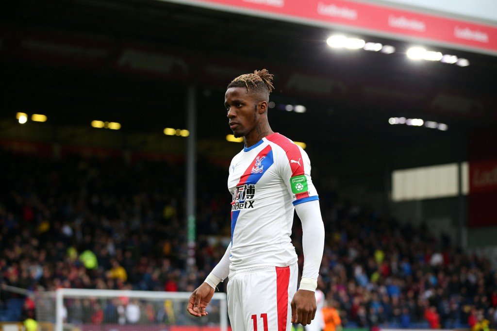 BURNLEY, ENGLAND - MARCH 02: Wilfried Zaha of Crystal Palace looks on during the Premier League match between Burnley FC and Crystal Palace at Turf Moor on March 02, 2019 in Burnley, United Kingdom. (Photo by Alex Livesey/Getty Images)