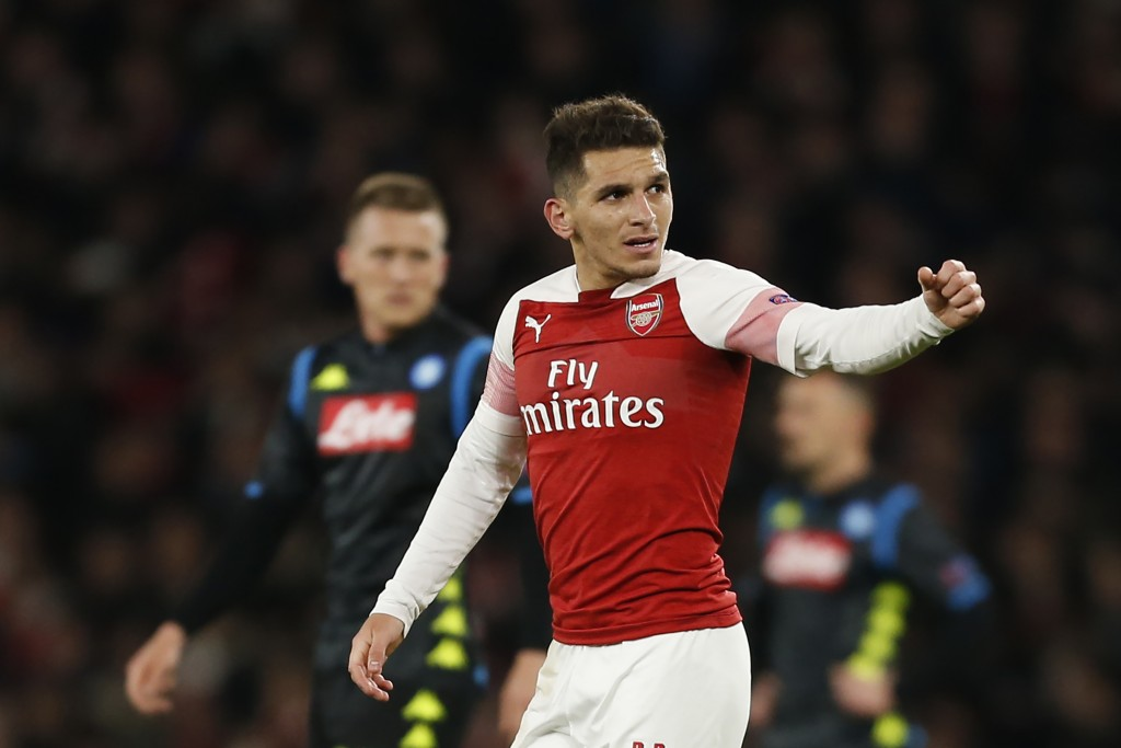 Torreira celebrates his goal against Napoli. (Photo by Ian Kingto/AFP/Getty Images)