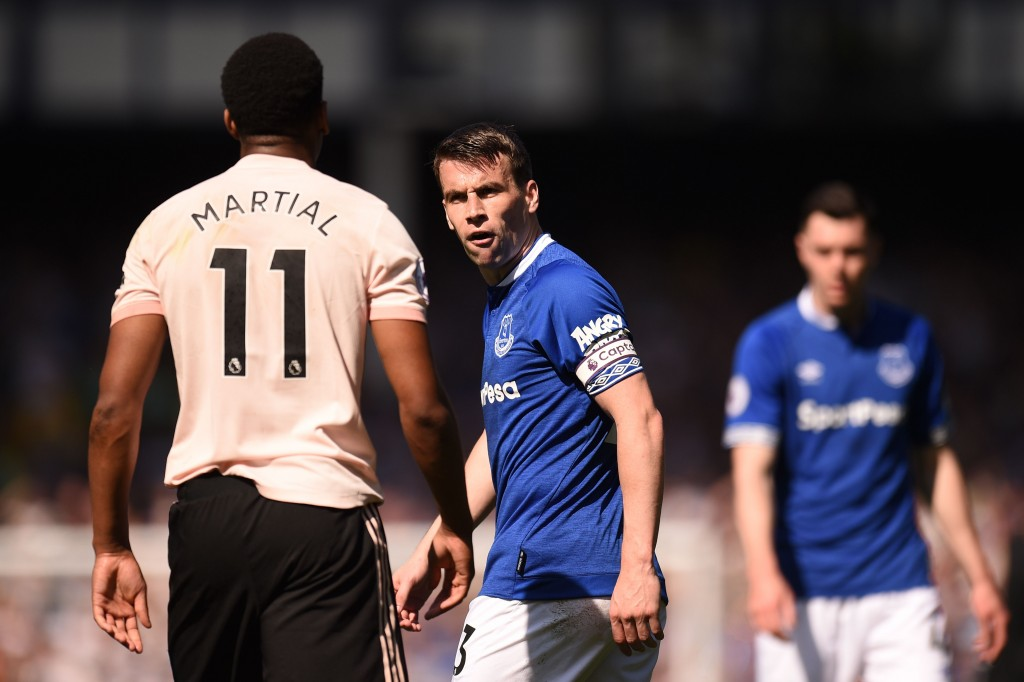 Seamus Coleman had the measure of Martial. (Photo by Oli Scarff/AFP/Getty Images)