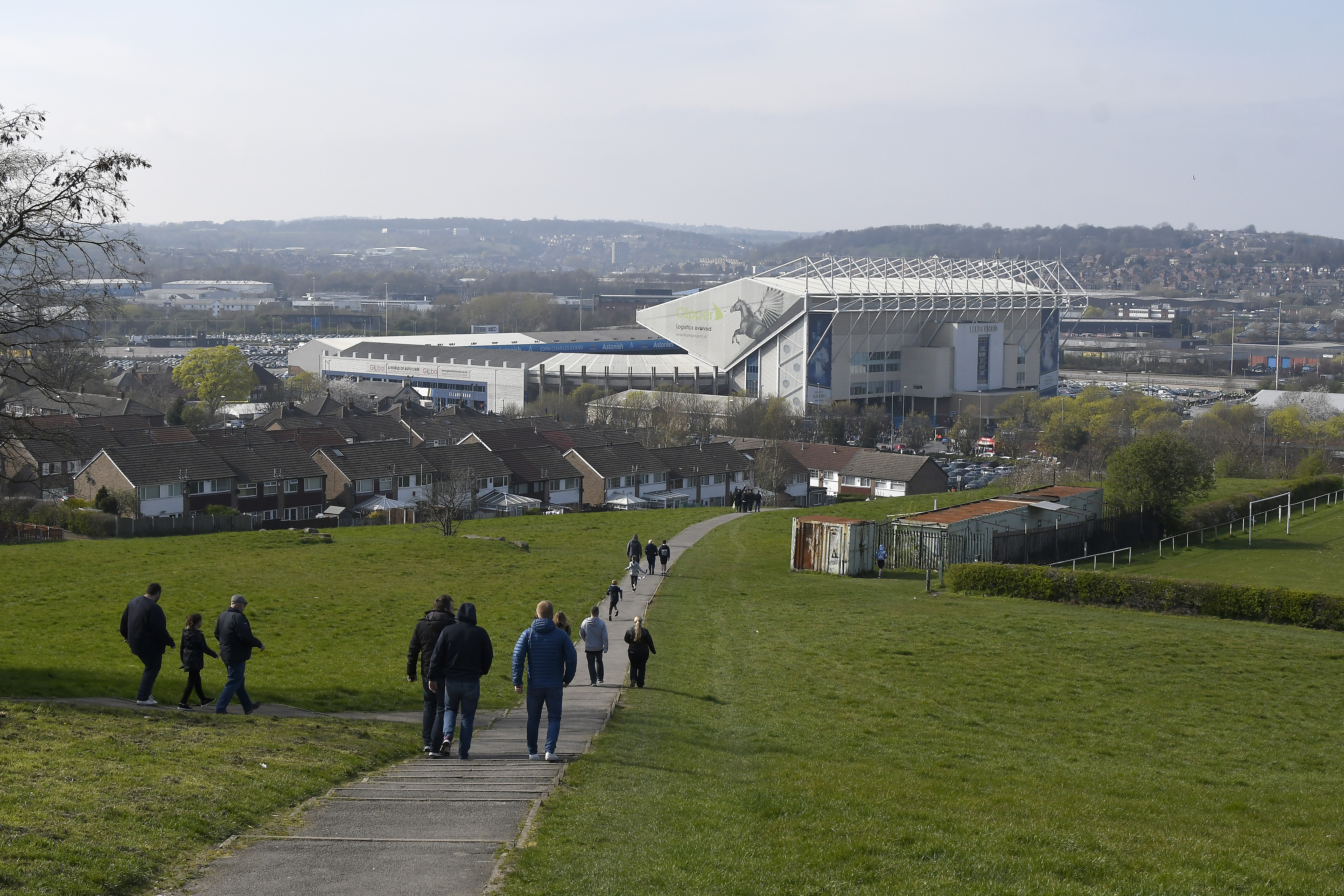 LEEDS, ENGLAND - MARCH 30: Fans walk to Elland Road Stadium prior to the Sky Bet Championship match between Leeds United and Millwall at Elland Road on March 30, 2019 in Leeds, England. (Photo by George Wood/Getty Images)