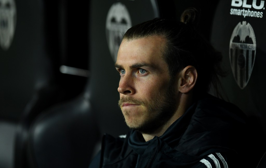VALENCIA, SPAIN - APRIL 03: Gareth Bale of Real Madrid sits on the bench prior to the La Liga match between Valencia CF and Real Madrid CF at Estadio Mestalla on April 03, 2019 in Valencia, Spain. (Photo by David Ramos/Getty Images)