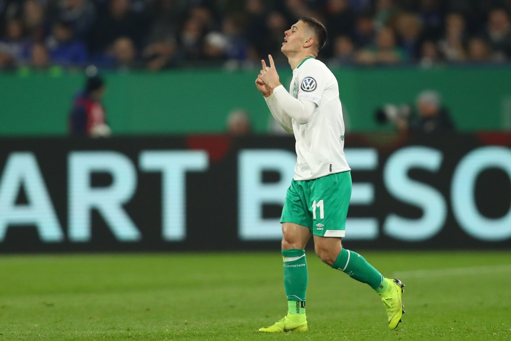 GELSENKIRCHEN, GERMANY - APRIL 03: Milot Rashica of Bremen celebrates his team's first goal during the DFB Cup quarterfinal match between FC Schalke 04 and Werder Bremen at Veltins-Arena on April 03, 2019 in Gelsenkirchen, Germany. (Photo by Dean Mouhtaropoulos/Bongarts/Getty Images)