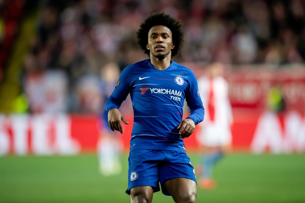 Willian was in the mood on Thursday. (Photo by Thomas Eisenhuth/Bongarts/Getty Images)