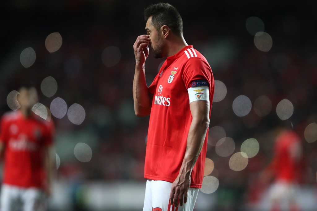LISBON, PORTUGAL - APRIL 11: Jardel of Benfica reacts during the UEFA Europa League Quarter Final First Leg match between Benfica and Eintracht Frankfurt at Estadio do Sport Lisboa e Benfica on April 11, 2019 in Lisbon, Portugal. (Photo by Alex Grimm/Getty Images)
