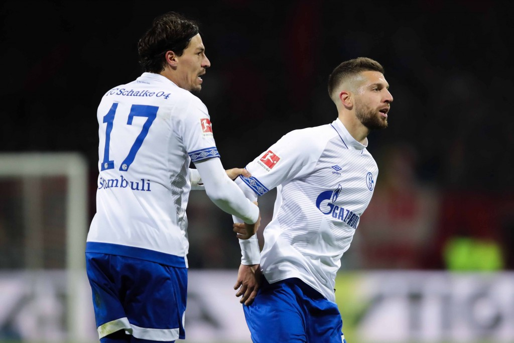 NUREMBERG, GERMANY - APRIL 12: Matija Nastasic of FC Schalke 04 celebrates with his team mate after Benjamin Stambouli scoring his team's first goal during the Bundesliga match between 1. FC Nuernberg and FC Schalke 04 at Max-Morlock-Stadion on April 12, 2019 in Nuremberg, Germany. (Photo by Alexander Hassenstein/Bongarts/Getty Images)
