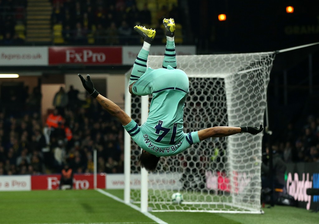 Turning Arsenal's fate around, Aubameyang jubilant after scoring the winner. (Photo by Marc Atkins/Getty Images)