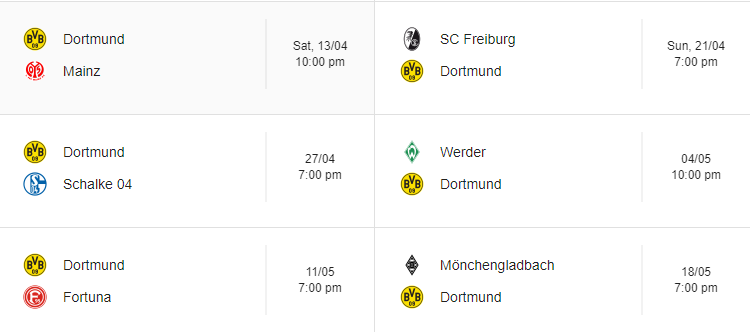 Dortmund's remaining fixtures in the league this season.