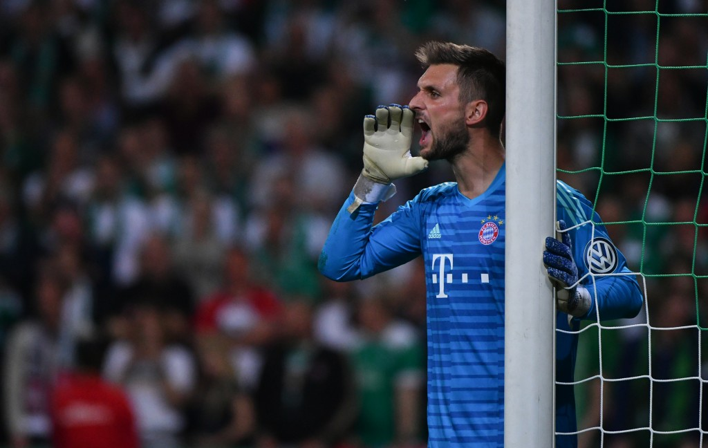 Bayern Munich's German goalkeeper Sven Ulreich reacts during the German Cup (DFB Pokal) semi-final football match SV Werder Bremen vs Bayern Munich in Bremen, northern Germany on April 24, 2019. (Photo by PATRIK STOLLARZ / AFP) / DFB REGULATIONS PROHIBIT ANY USE OF PHOTOGRAPHS AS IMAGE SEQUENCES AND QUASI-VIDEO. (Photo credit should read PATRIK STOLLARZ/AFP/Getty Images)