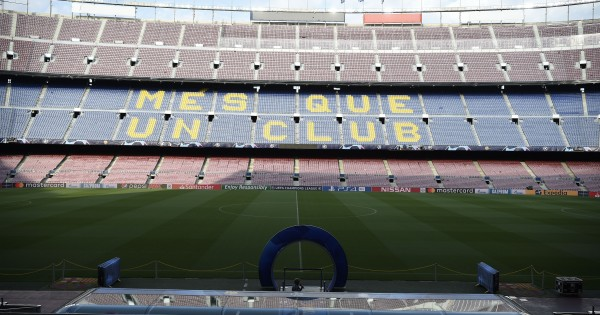 View of the Camp Nou stadium in Barcelona on April 30, 2019 on the eve of the UEFA Champions League semi-final first leg football match between Barcelona and Liverpool. (Photo by Josep LAGO / AFP)        (Photo credit should read JOSEP LAGO/AFP/Getty Images)
