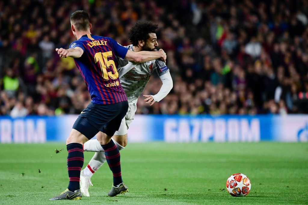 Lenglet struggled against the tricky Salah. (Photo by Javier Soriano/AFP/Getty Images)