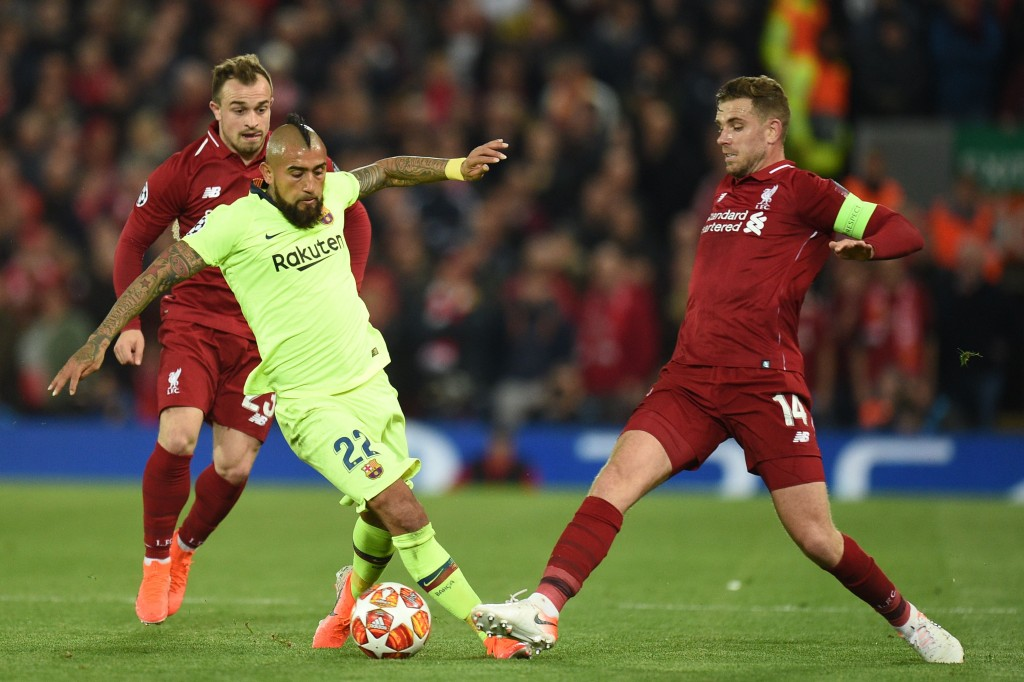 Only Barcelona player to show some fight (Photo by OLI SCARFF/AFP/Getty Images)