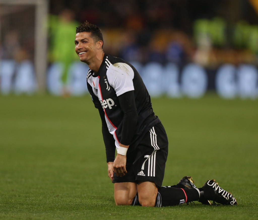 ROME, ITALY - MAY 12: Cristiano Ronaldo of Juventus reacts during the Serie A match between AS Roma and Juventus at Stadio Olimpico on May 12, 2019 in Rome, Italy. (Photo by Paolo Bruno/Getty Images)