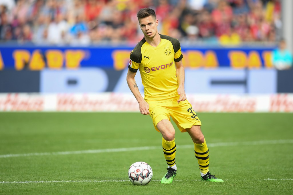 FREIBURG IM BREISGAU, GERMANY - APRIL 21: Julian Weigl of Borussia Dortmund in action during the Bundesliga match between Sport-Club Freiburg and Borussia Dortmund at Schwarzwald-Stadion on April 21, 2019 in Freiburg im Breisgau, Germany. (Photo by Christian Kaspar-Bartke/Bongarts/Getty Images)