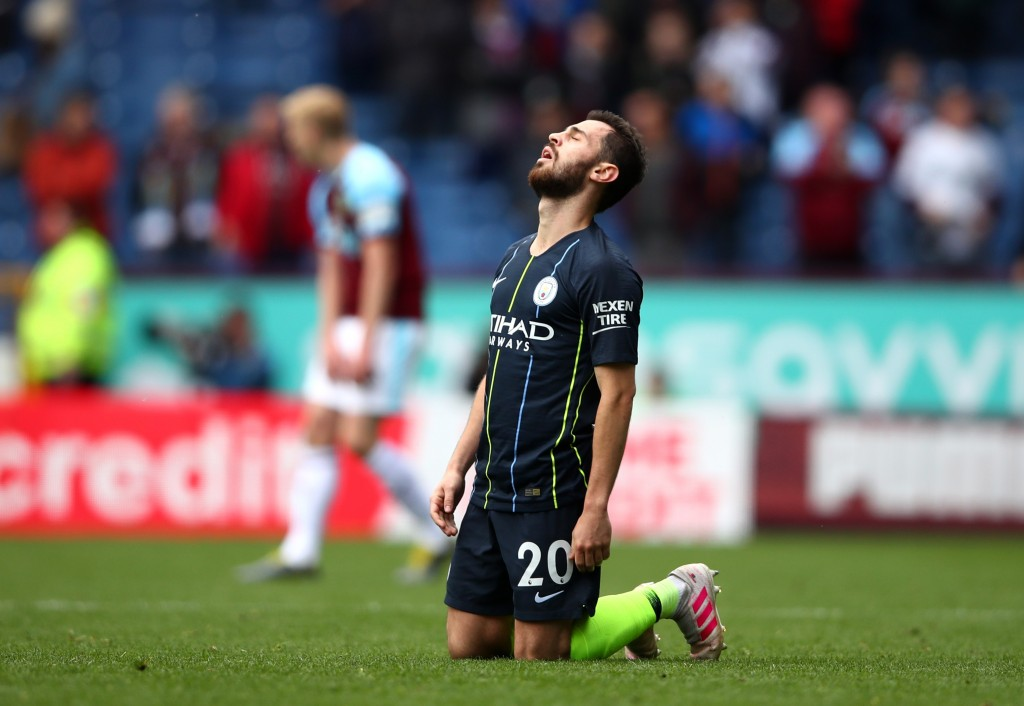 BURNLEY, ENGLAND - APRIL 28: Bernardo Silva of Manchester City reacts after the Premier League match between Burnley FC and Manchester City at Turf Moor on April 28, 2019 in Burnley, United Kingdom. (Photo by Clive Brunskill/Getty Images)