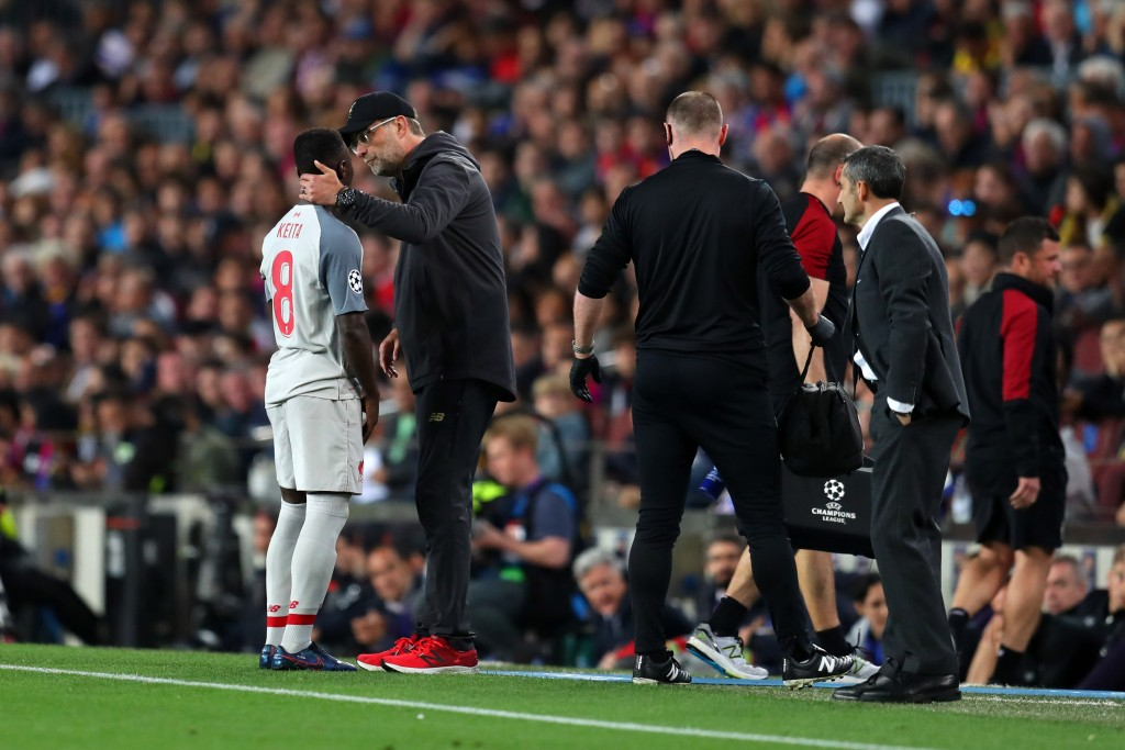 A dejected Keita is subbed off. (Photo by Catherine Ivill/Getty Images)