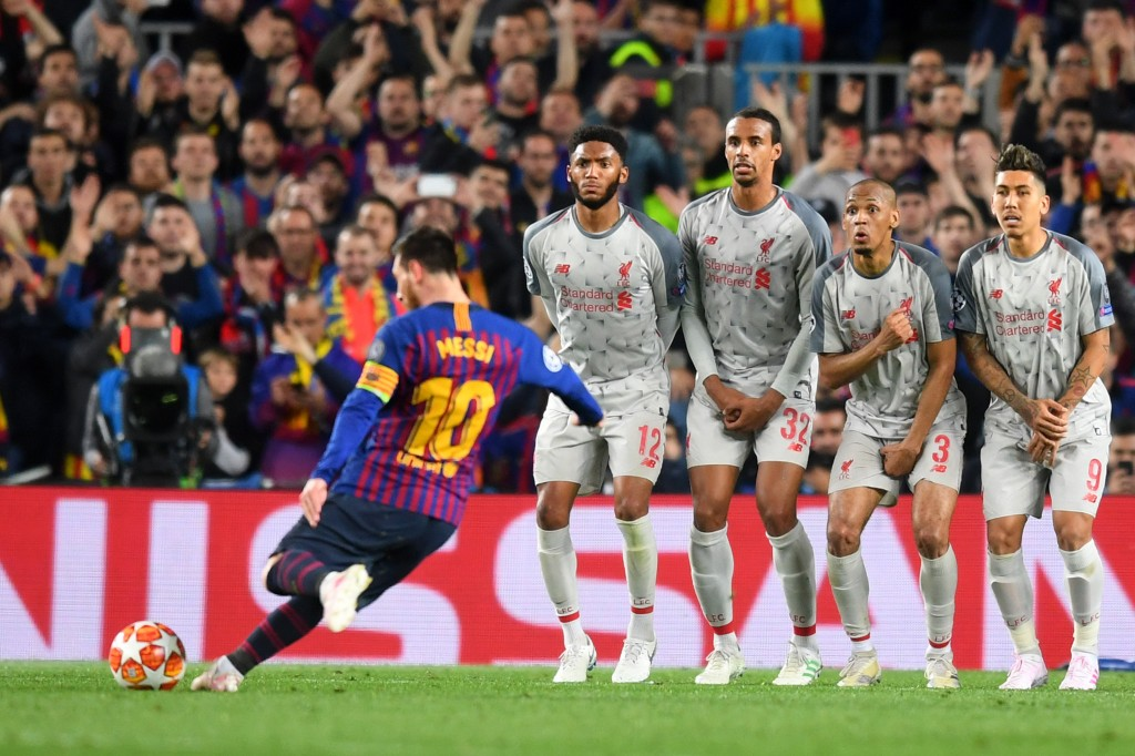 Messi scored his 600th Barcelona goal with this beautiful free-kick. (Photo by Michael Regan/Getty Images)
