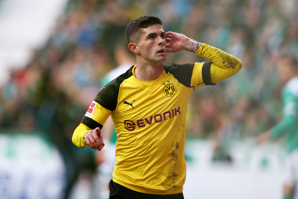 BREMEN, GERMANY - MAY 04: Christian Pulisic of Borussia Dortmund celebrates scoring the opening goal during the Bundesliga match between SV Werder Bremen and Borussia Dortmund at Weserstadion on May 04, 2019 in Bremen, Germany. (Photo by Martin Rose/Bongarts/Getty Images)