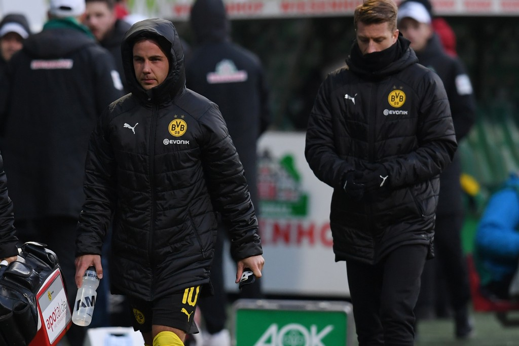 BREMEN, GERMANY - MAY 04: (L-R) Mario Goetze and Marco Reus of Borussia Dortmund looks dejected after the Bundesliga match between SV Werder Bremen and Borussia Dortmund at Weserstadion on May 04, 2019 in Bremen, Germany. (Photo by Oliver Hardt/Bongarts/Getty Images)