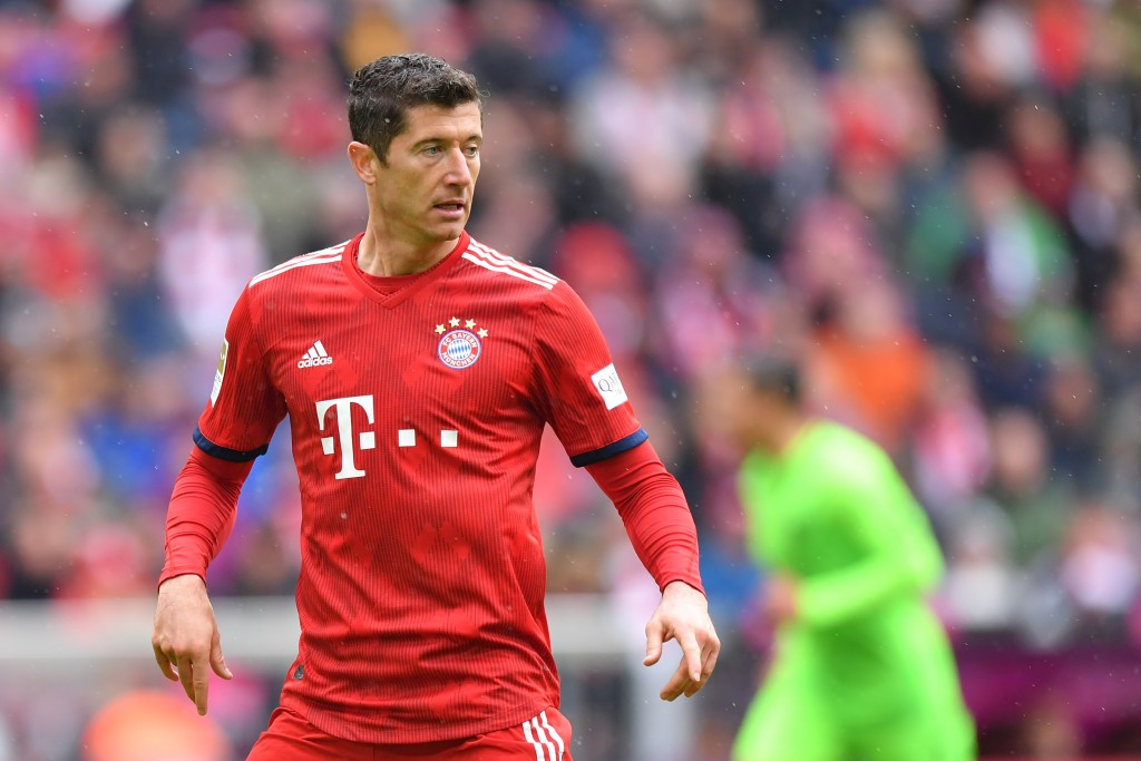 MUNICH, GERMANY - MAY 04: Robert Lewandowski of Bayern Munich looks on during the Bundesliga match between FC Bayern Muenchen and Hannover 96 at Allianz Arena on May 04, 2019 in Munich, Germany. (Photo by Sebastian Widmann/Bongarts/Getty Images)