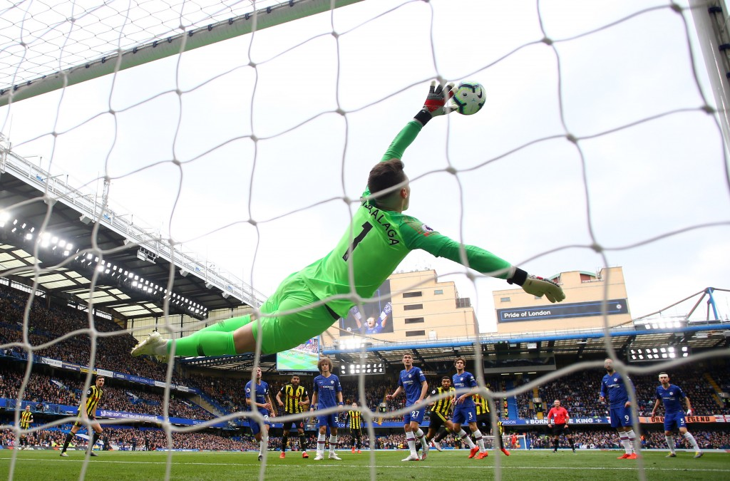 Kepa produced one of the saves of the season against Watford. (Photo by Richard Heathcote/Getty Images)