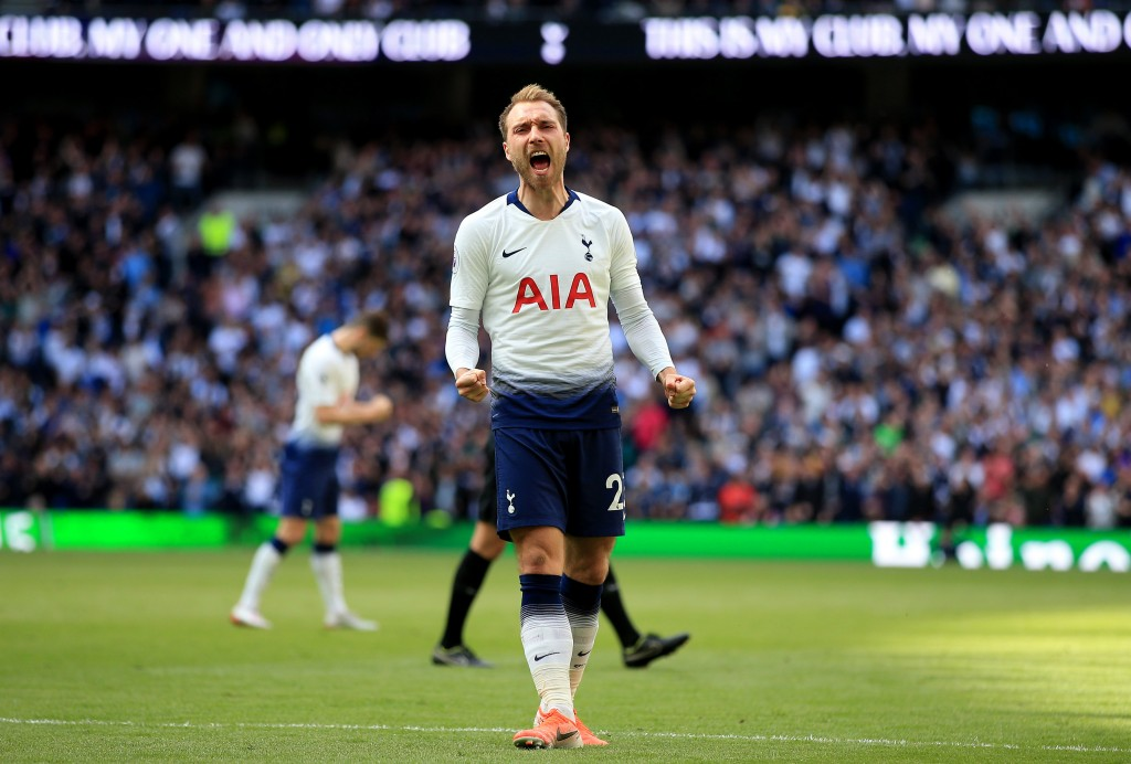 LONDON, ENGLAND - MAY 12: Christian Eriksen of Tottenham Hotspur celebrates after scoring his team's second goal during the Premier League match between Tottenham Hotspur and Everton FC at Tottenham Hotspur Stadium on May 12, 2019 in London, United Kingdom. (Photo by Marc Atkins/Getty Images)