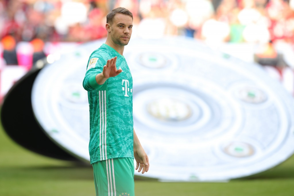 MUNICH, GERMANY - MAY 18: Manuel Neuer of Bayern Muenchen looks on after the Bundesliga match between FC Bayern Muenchen and Eintracht Frankfurt at Allianz Arena on May 18, 2019 in Munich, Germany. (Photo by Alexander Hassenstein/Bongarts/Getty Images)