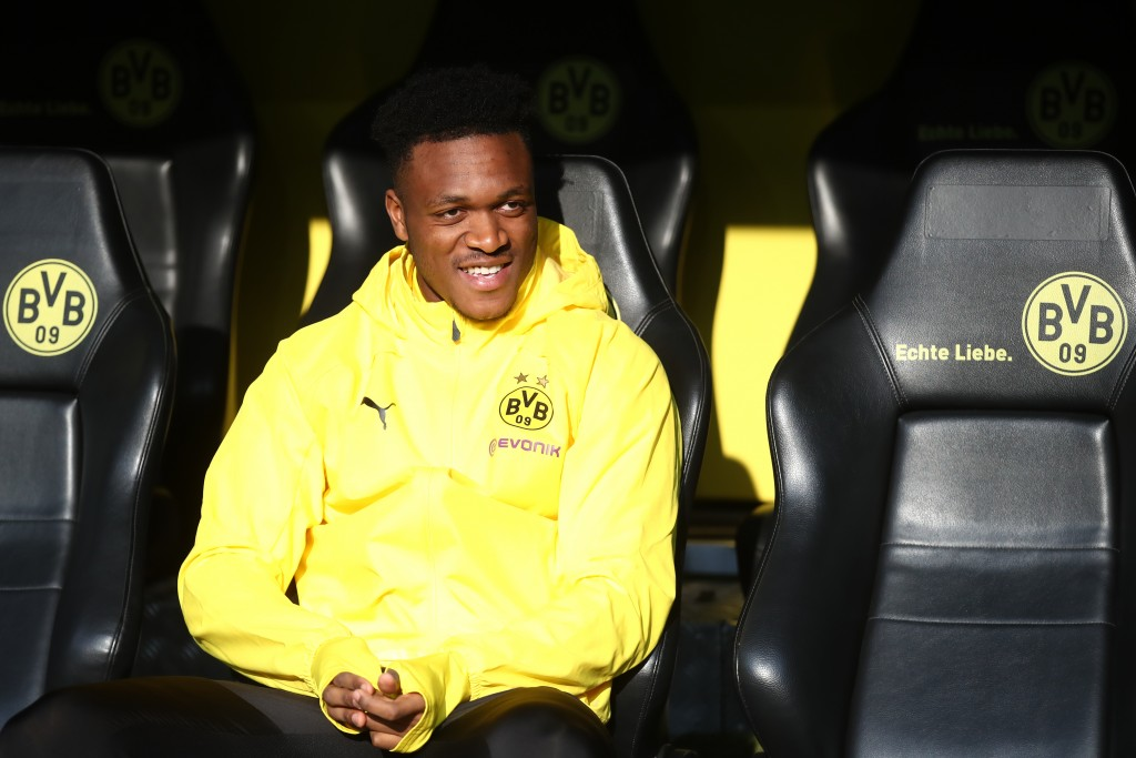 DORTMUND, GERMANY - APRIL 13: Dan-Axel Zagadou of Dortmund sits on the bench prior to the Bundesliga match between Borussia Dortmund and 1. FSV Mainz 05 at Signal Iduna Park on April 13, 2019 in Dortmund, Germany. (Photo by Alex Grimm/Bongarts/Getty Images)