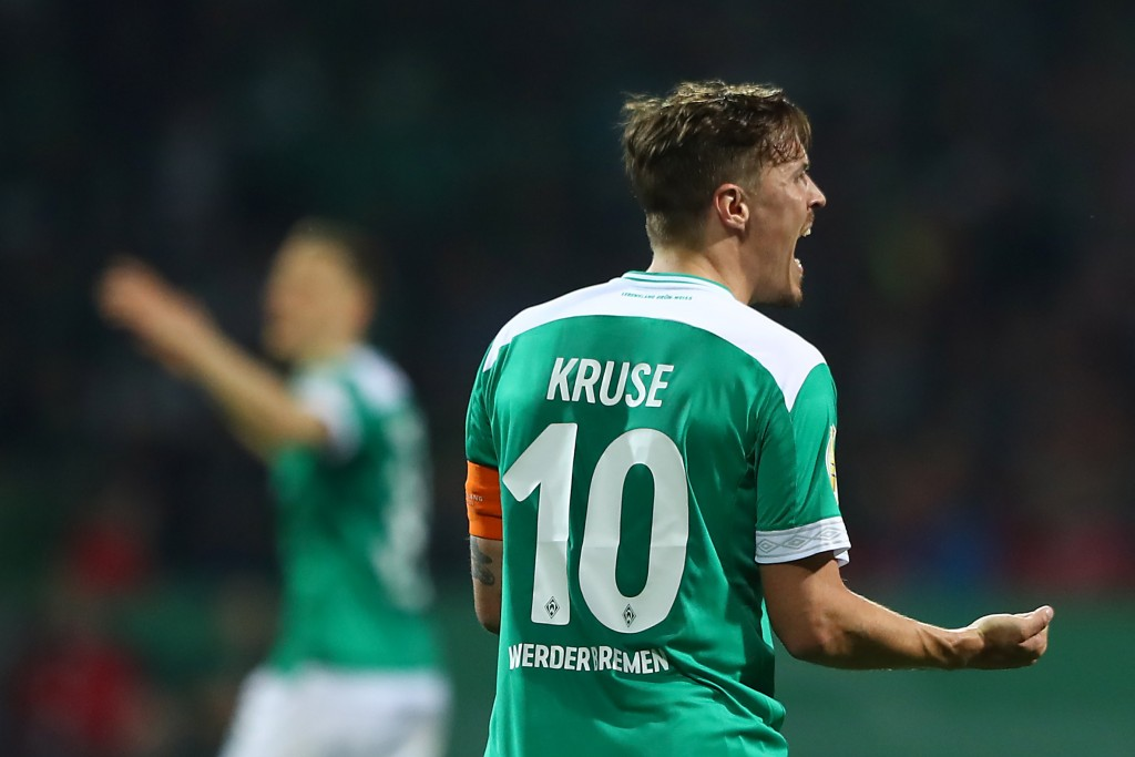 BREMEN, GERMANY - APRIL 24: Max Kruse of Werder Bremen reacts during the DFB Cup semi final match between Werder Bremen and FC Bayern Muenchen at Weserstadion on April 24, 2019 in Bremen, Germany. (Photo by Martin Rose/Bongarts/Getty Images)