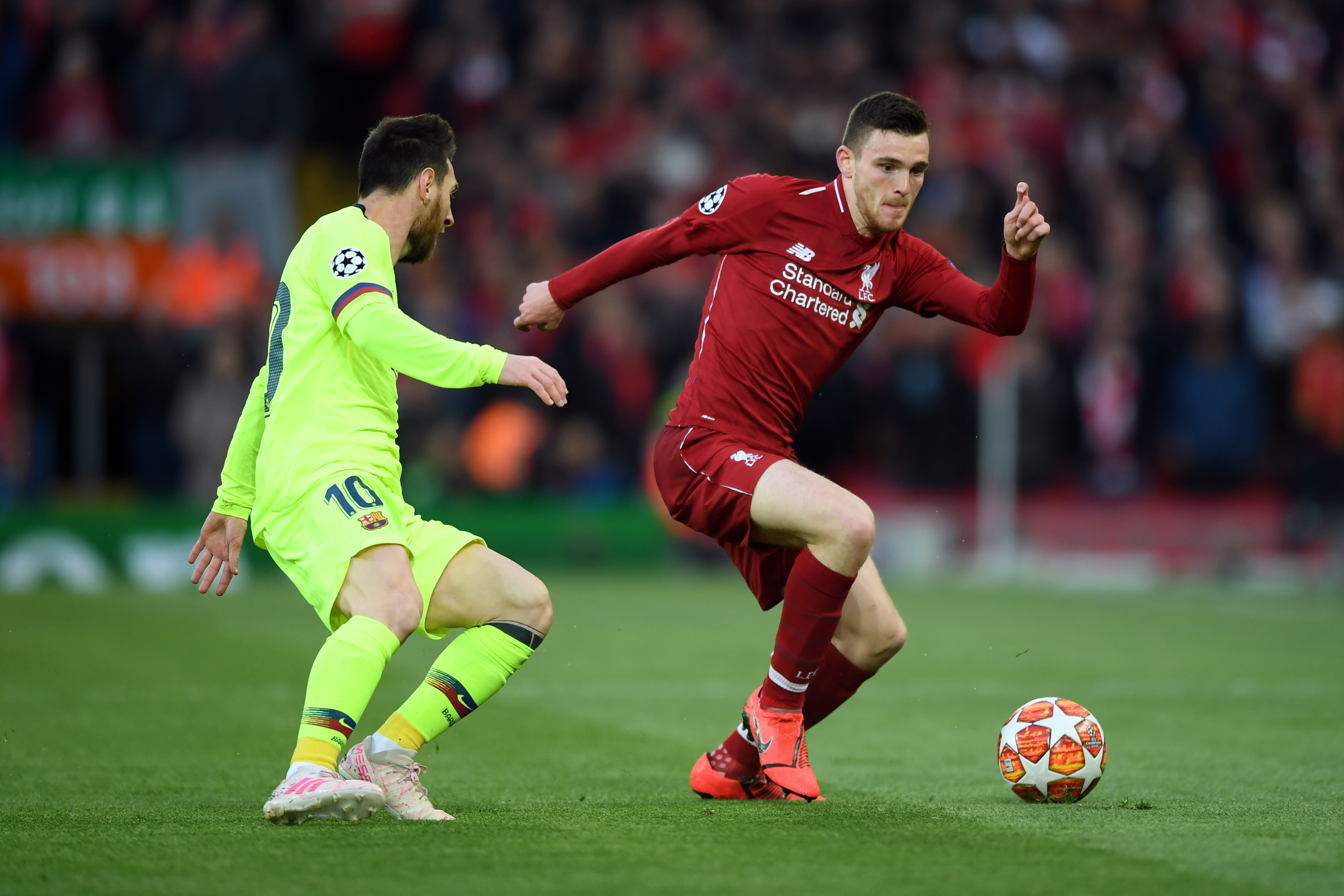 Barcelona are keen on Robertson after his glowing performance against them in the UCL. (Photo courtesy: AFP/Getty)