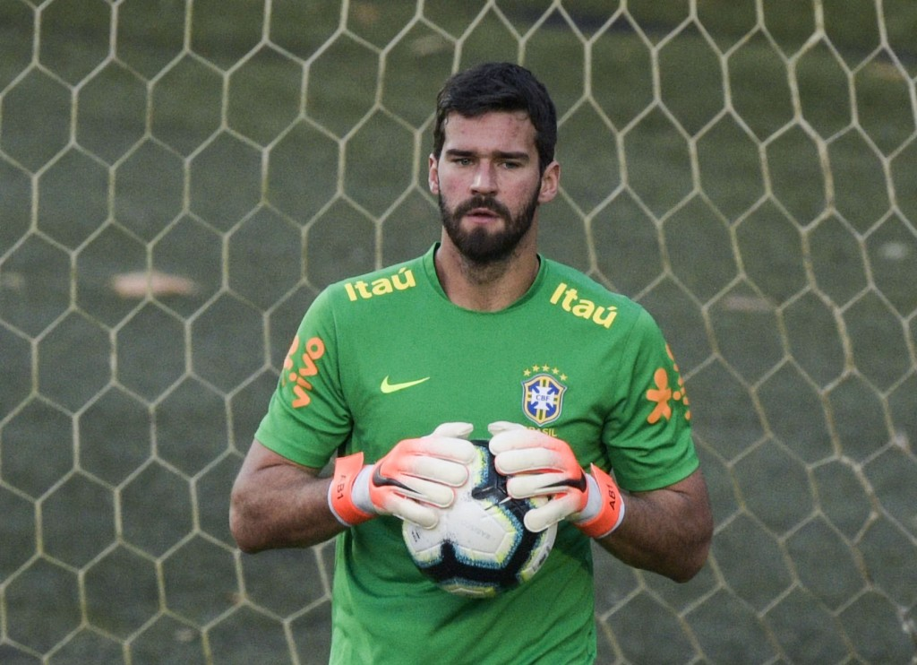 Brazil's goalkeeper Alisson takes part in a training session in Salvador, Bahia, Brazil on June 16, 2019 ahead of the Copa America Group A football match against Venezuela. (Photo by JUAN MABROMATA / AFP) (Photo credit should read JUAN MABROMATA/AFP/Getty Images)