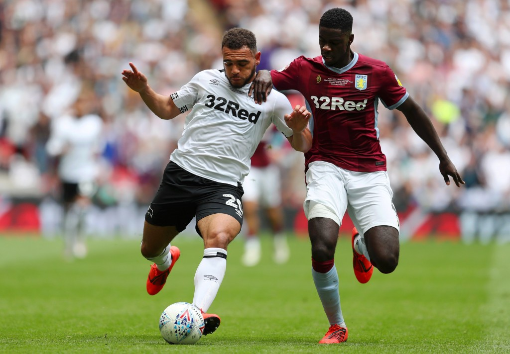 LONDON, ENGLAND - MAY 27: Mason Bennett of Derby County battles for possession with Axel Tuanzebe of Aston Villa during the Sky Bet Championship Play-off Final match between Aston Villa and Derby County at Wembley Stadium on May 27, 2019 in London, United Kingdom. (Photo by Catherine Ivill/Getty Images)