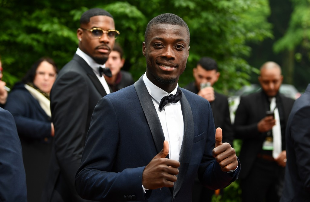 Lille forward Nicolas Pepe arrives to take part in a TV show on May 19, 2019 in Paris, as part of the 28th edition of the UNFP (French National Professional Football players Union) trophy ceremony. (Photo by FRANCK FIFE / AFP) (Photo credit should read FRANCK FIFE/AFP/Getty Images)