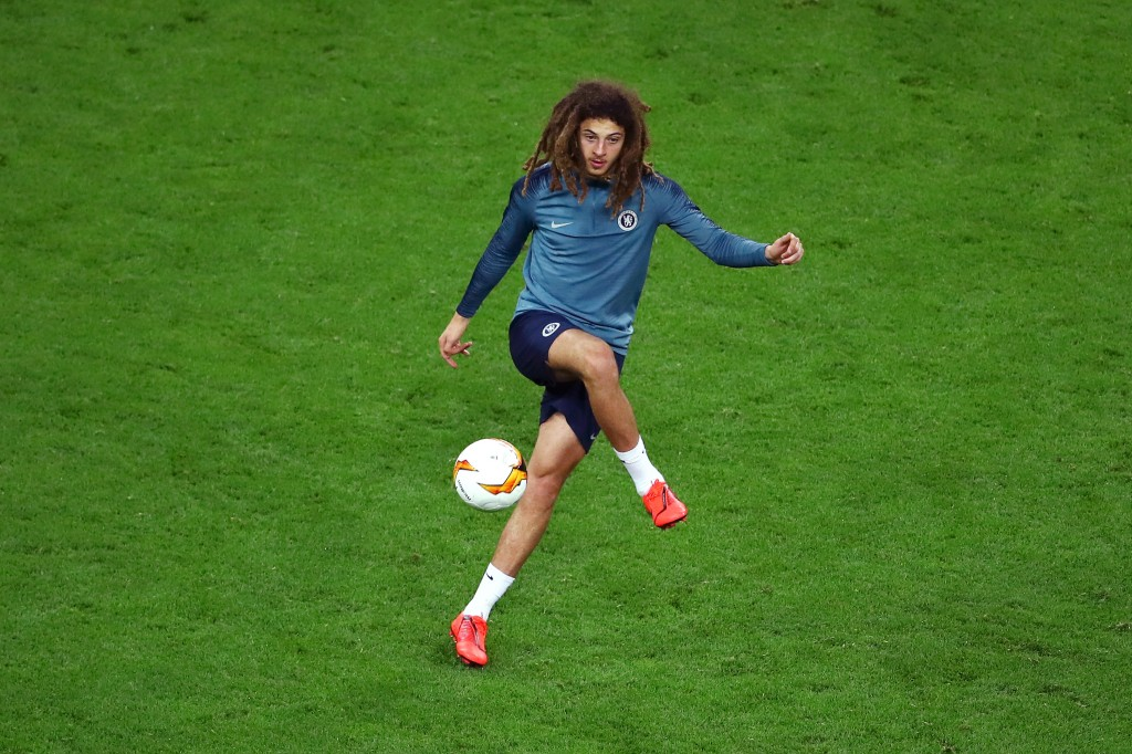 BAKU, AZERBAIJAN - MAY 28: Ethan Ampadu of Chelsea trains during the Chelsea FC training session on the eve of the UEFA Europa League Final against Arsenal at Baku Olimpiya Stadion on May 28, 2019 in Baku, Azerbaijan. (Photo by Francois Nel/Getty Images)