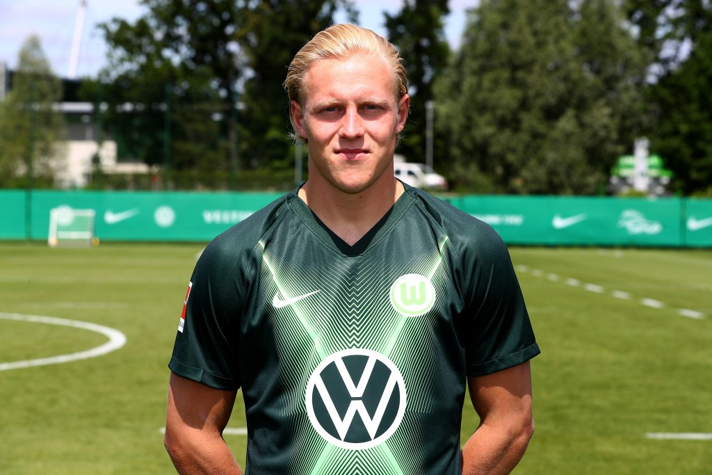 WOLFSBURG, GERMANY - JULY 10: Xaver Schlager of VfL Wolfsburg poses during the team presentation on July 10, 2019 in Wolfsburg, Germany. (Photo by Martin Rose/Bongarts/Getty Images)