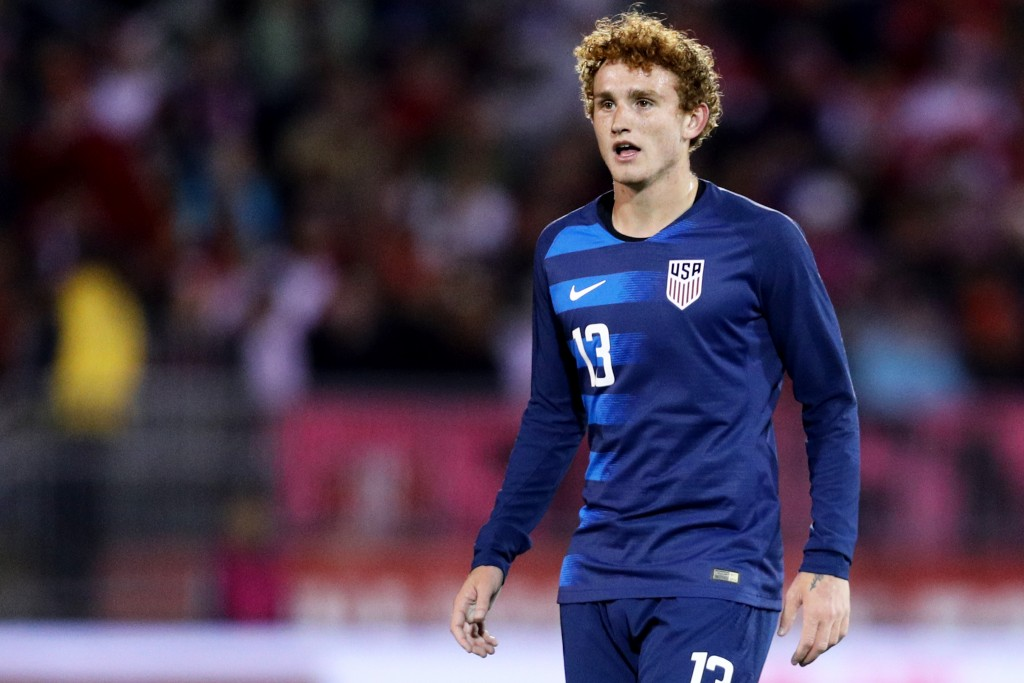 EAST HARTFORD, CT - OCTOBER 16: Josh Sargent #13 of the United States looks on during the game against the Peru at Rentschler Field on October 16, 2018 in East Hartford, Connecticut.(Photo by Maddie Meyer/Getty Images)