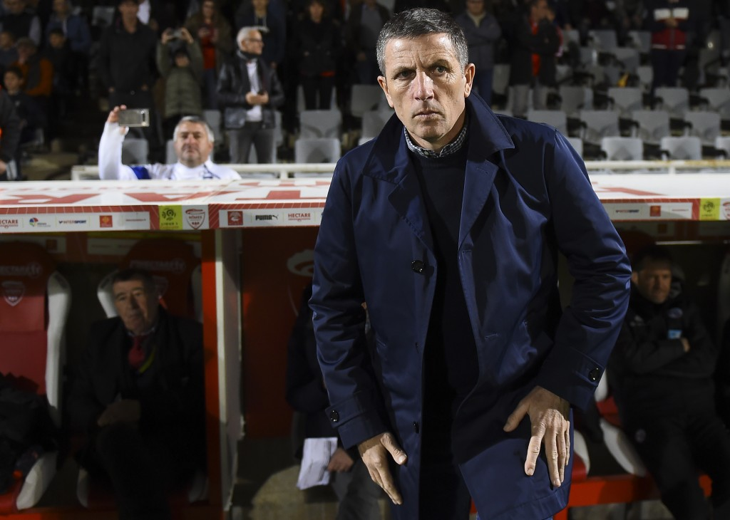 Strasbourg's French head coach Thierry Laurey is seen during the French L1 football match between Nimes and Strasbourg, on March 16, 2019 at the Costieres stadium in Nimes, southern France. (Photo by SYLVAIN THOMAS / AFP) (Photo credit should read SYLVAIN THOMAS/AFP/Getty Images)