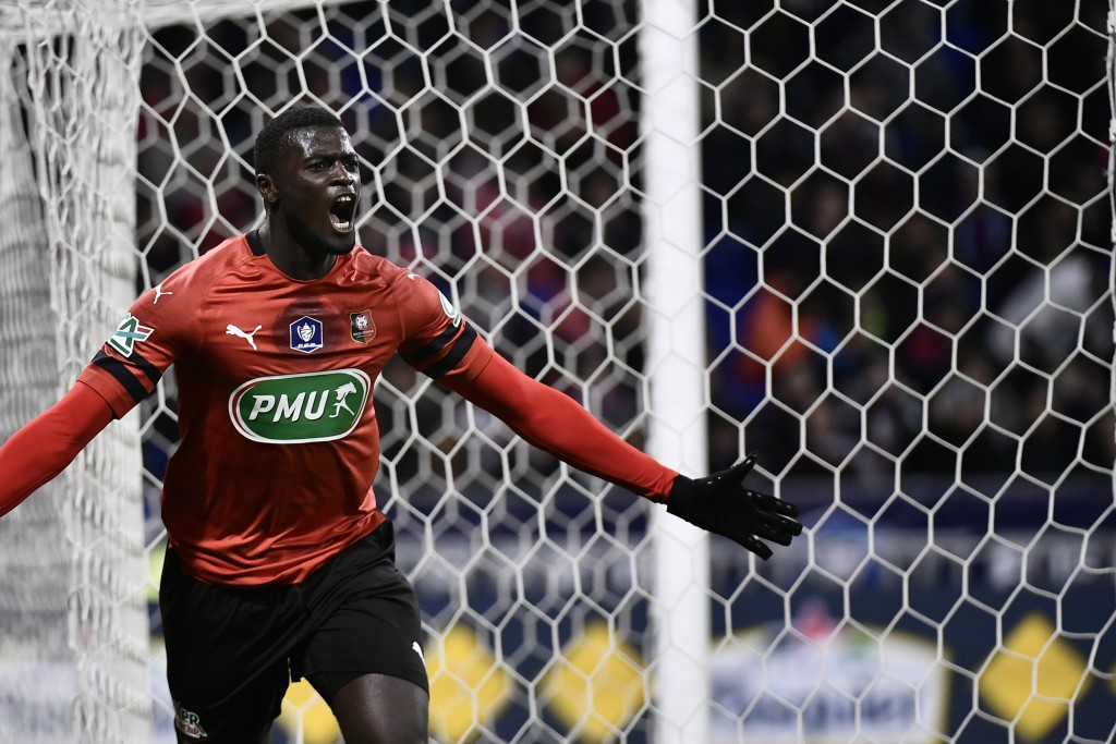 Rennes' Senegalese forward M'Baye Niang celebrates after scoring a goal during the French Cup semi-final football match between Lyon (OL) and Rennes (SRFC) at the Groupama Stadium in Decines-Charpieu, near Lyon, central-eastern France, on April 2, 2019. (Photo by JEFF PACHOUD / AFP) (Photo credit should read JEFF PACHOUD/AFP/Getty Images)