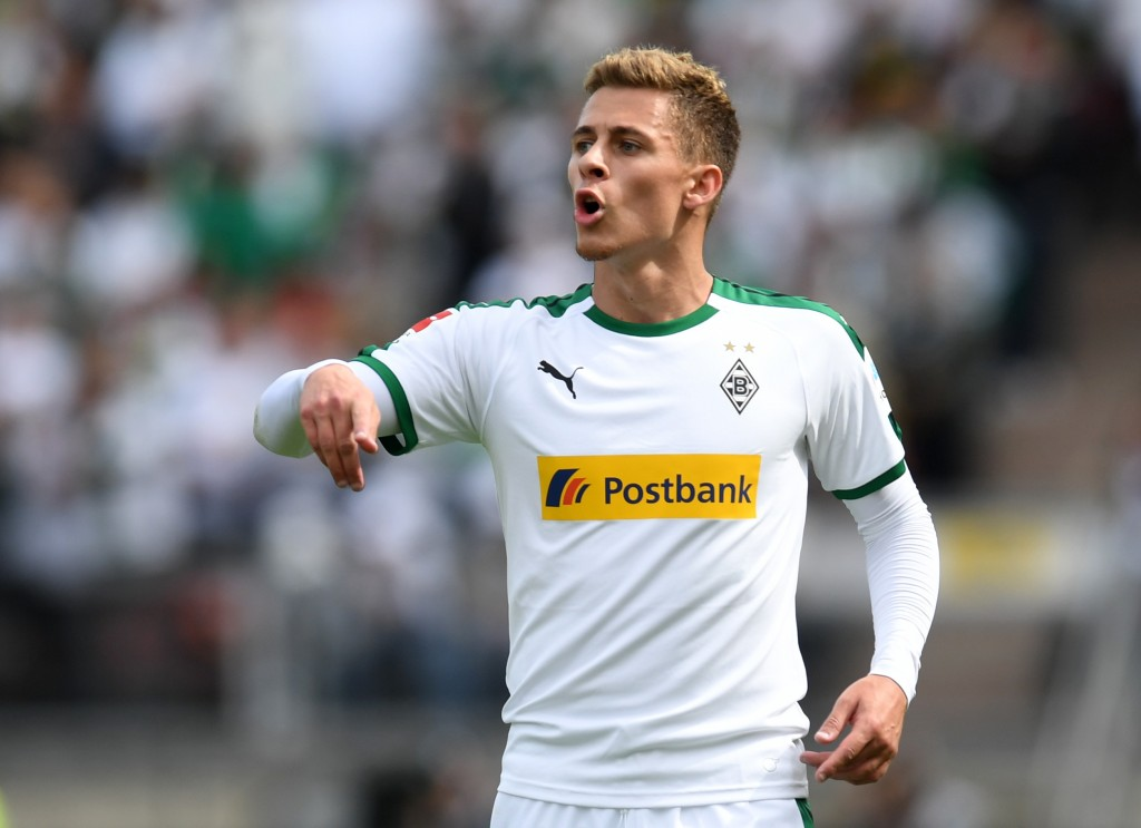 Moenchengladbach's Belgian striker Thorgan Hazard gestures during the German first division Bundesliga football match 1. FC Nuremberg vs Borussia Moenchengladbach in the stadium in Nuremberg, southern Germany, on May 11, 2019. (Photo by Christof STACHE / AFP) (Photo credit should read CHRISTOF STACHE/AFP/Getty Images)