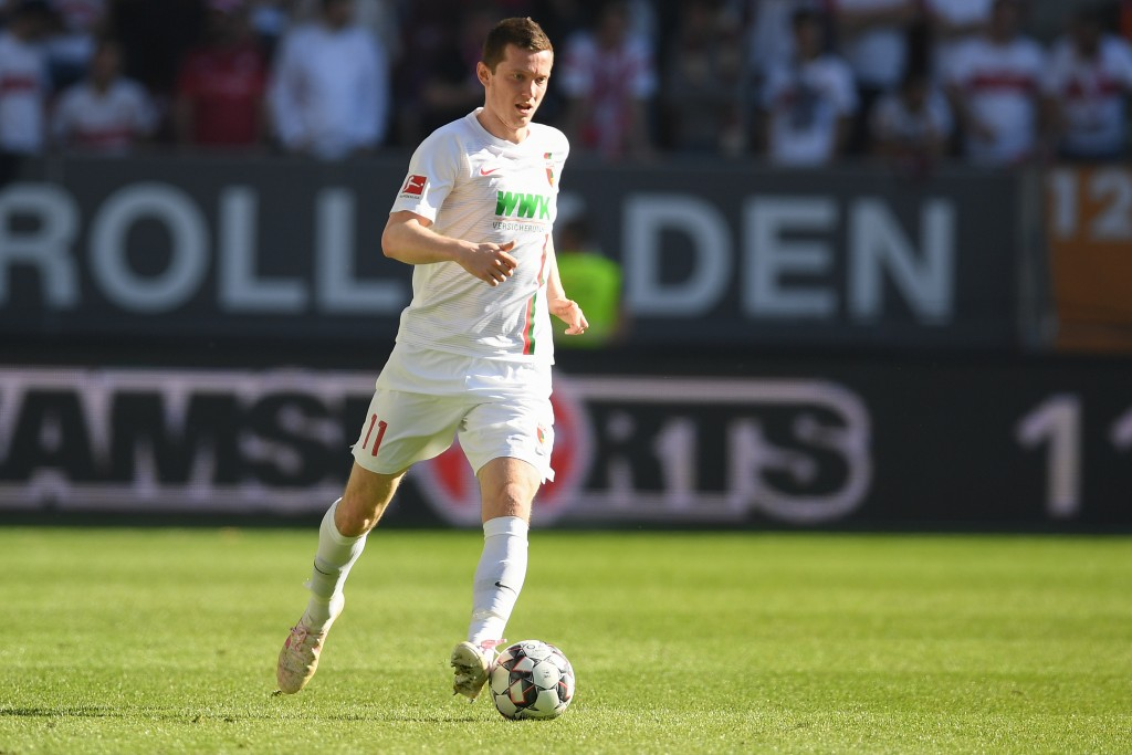 AUGSBURG, GERMANY - APRIL 20: Michael Gregoritsch of FC Augsburg in action during the Bundesliga match between FC Augsburg and VfB Stuttgart at WWK-Arena on April 20, 2019 in Augsburg, Germany. (Photo by Christian Kaspar-Bartke/Bongarts/Getty Images)