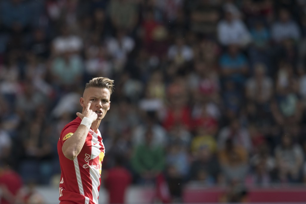 SALZBURG, AUSTRIA - MAY 26: Hannes Wolf of Salzburg reacts during the tipico Bundesliga match between RB Salzburg and SKN St. Poelten at Red Bull Arena on May 26, 2019 in Salzburg, Austria. (Photo by Andreas Schaad/Bongarts/Getty Images)