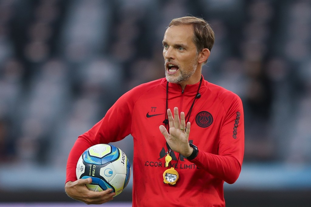 SHENZHEN, CHINA - AUGUST 02: Head coach Thomas Tuchel of Paris Saint-Germain gestures during the training session ahead of the French Trophy of Champions football match between Rennes and Paris Saint-Germain at Shenzhen Universiadg Sports Center stadium on August 2, 2019 in Shenzhen, China. (Photo by Lintao Zhang/Getty Images)