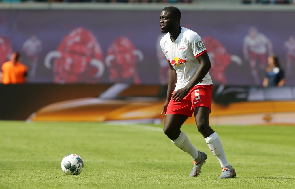 LEIPZIG, GERMANY - AUGUST 03: Dayot Upamecano of Leipzig runs with the ball during the pre-season friendly match between RB Leipzig and Aston Villa at Red Bull Arena on August 3, 2019 in Leipzig, Germany. (Photo by Matthias Kern/Bongarts/Getty Images)